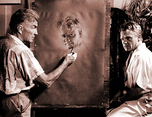 Rolf Armstrong painting James Cagney around 1954