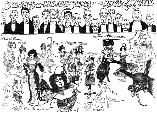 cartoon of caricatures by Bert Cobb from 1902