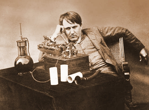 edison with a dictaphone machine