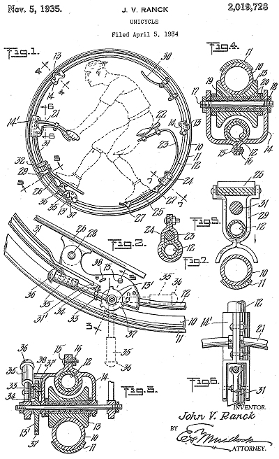 patent drawing for the j v ranck unicycle